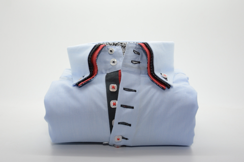 Men's Light Blue Shirt with Orange and Black Triple Collar