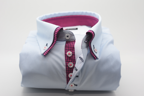 Men's Light Blue Shirt with Pink and Navy Check Double Collar