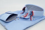 Men's light blue shirt red and white triple collar cuff