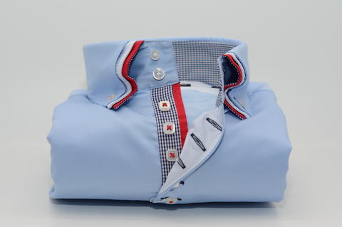 Men's Light Blue Shirt with Red Triple Collar