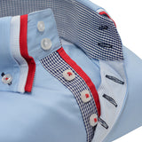 Men's light blue shirt with red and white triple collar upclose