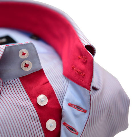Men's Light Blue Single Collar Shirt with Red Pinstripe