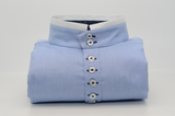 Men's light blue Oxford cotton rounded collar shirt front