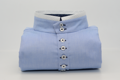 Men's Light Blue Oxford Cotton Shirt with Rounded Collar