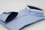 Men's light blue Oxford cotton rounded collar shirt cuff