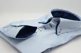 Men's light blue shirt with small navy double collar cuff