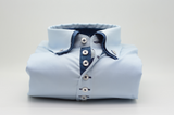 Men's light blue shirt with small navy double collar front