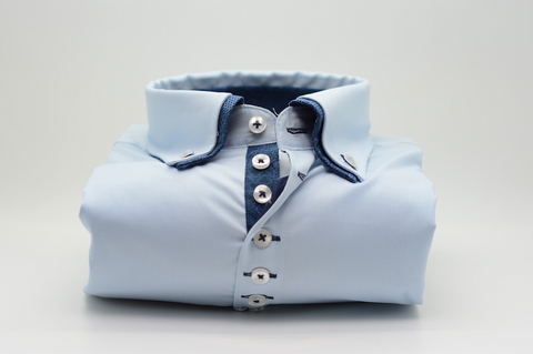 Men's Light Blue Shirt with Small Navy Blue Double Collar