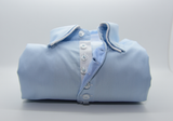 Men's light blue shirt small white double collar front