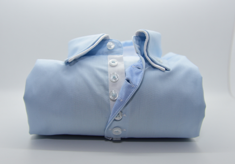 Men's Light Blue Shirt with Small White Double Collar