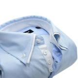 Men's light blue shirt small white double collar upclose