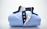 Men's light blue shirt white collar and cuffs front