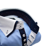 Men's light blue shirt white collar and cuffs upclose