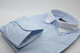 Men's light blue shirt with spotty collar cuff