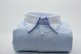 Men's light blue shirt with spotty collar front