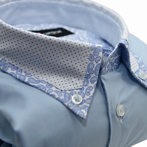 Men's Light Blue Shirt with Spot & Paisley Collar