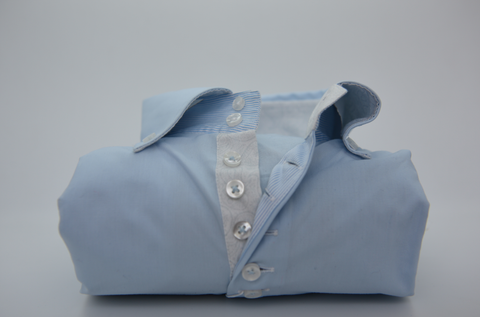 Men's Light Blue Single Collar Shirt with Paisley Trim