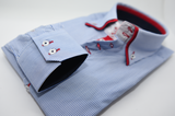 Men's light blue and white stripe shirt red double collar cuff