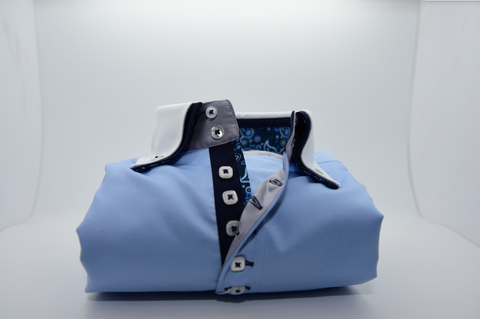 Men's Light Blue Shirt with White Double Collar and Cuffs