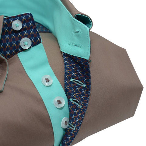Men's Light Brown Shirt with Light Green Trim