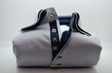 Men's light grey shirt navy triple collar front