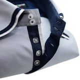 Men's light grey shirt navy triple collar upclose