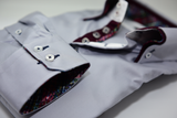 Men's light grey shirt burgundy double collar cuff