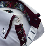 Men's light grey shirt burgundy double collar upclose