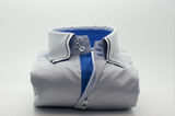 Men's light grey shirt double collar and royal blue trim front