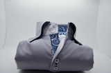 Men's light grey shirt with navy double collar front