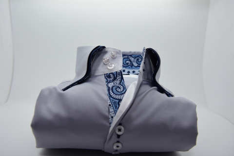 Men's Light Grey Shirt with Navy Double Collar and Paisley Trim
