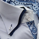 Men's light grey shirt with navy double collar upclose