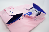 Men's pink shirt royal blue trim cuff