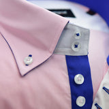 Men's pink shirt royal blue trim upclose