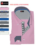 Men's light pink slim fit shirt blue and grey trim 7c shot