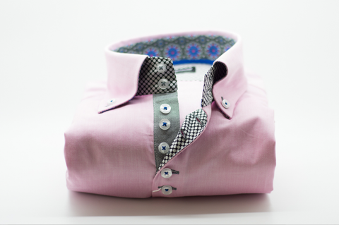 Men's Light Pink Single Collar Shirt with Blue and Grey Trim