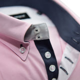 Men's light pink single collar shirt grey trim upclose