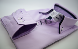 Men's lilac shirt navy double collar cuffs