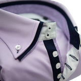 Men's lilac shirt navy double collar upclose