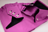 Men's magenta pink shirt black double collar cuff