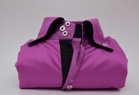 Men's Magenta Pink Shirt with Black Double Collar
