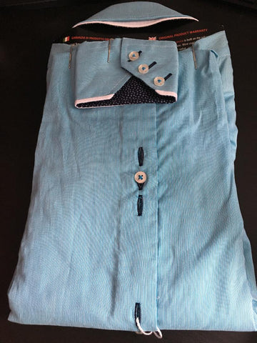 Men's Aqua Blue Shirt with White Double Collar