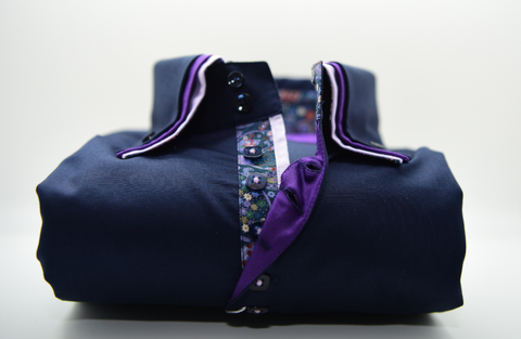 Men's Navy Shirt With Purple Triple Collar