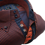 Men's navy blue and orange stripe single collar shirt upclose