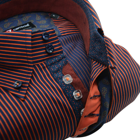 Men's Navy Blue and Orange Stripe Single Collar Shirt