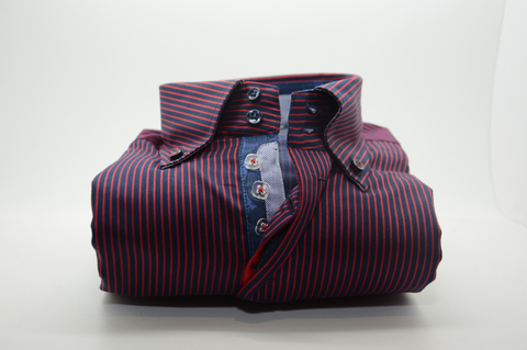 Men's Navy and Red Stripe Shirt with Single Collar