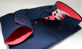 Men's navy blue single collar shirt with coral contrast cuff