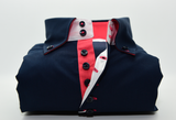 Men's navy blue single collar shirt with coral contrast front