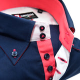 Mens navy blue single collar shirt with coral contrast upclose