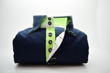 Men's navy blue shirt with apple green trim front